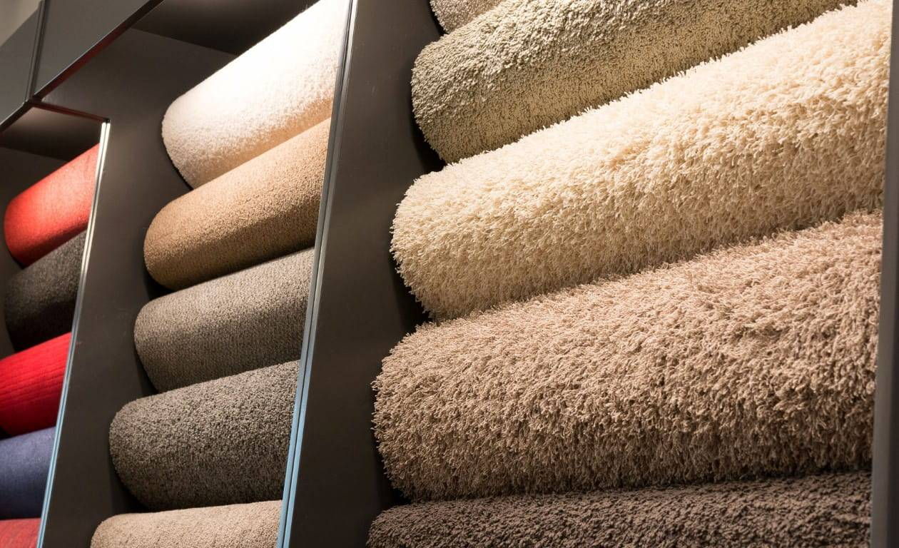 rows of carpet rolls