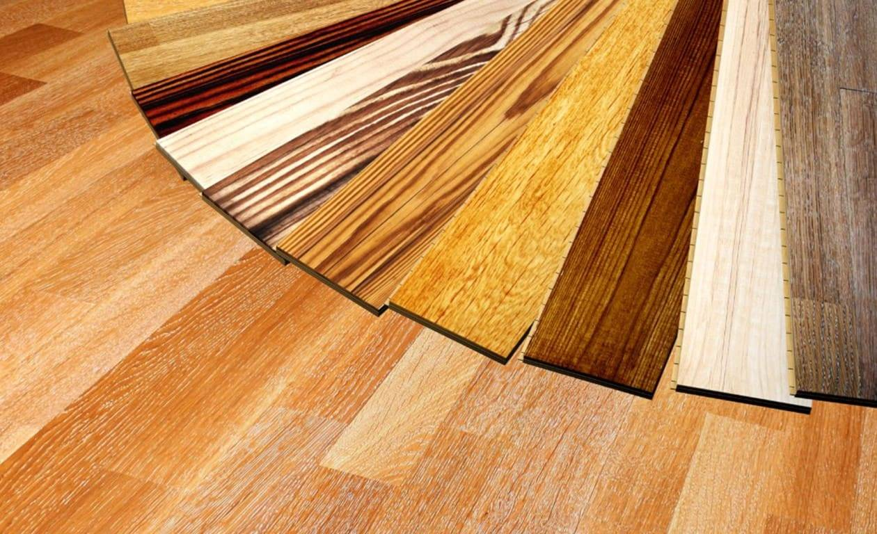 selection of different colour vinyl flooring samples